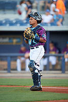 Charlotte Stone Crabs catcher David Rodriguez (13) during a game against the Palm Beach Cardinals on April 21, 2018 at Charlotte Sports Park in Port Charlotte, Florida.  Charlotte defeated Palm Beach 5-2.  (Mike Janes/Four Seam Images)