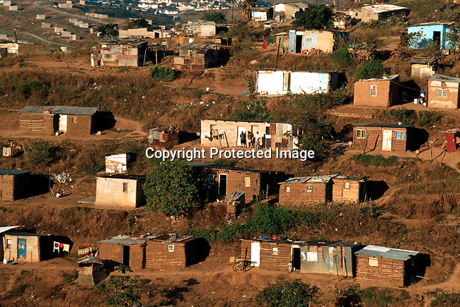 Houses in Kwa-Mashu a poor township outside Durban, South Africa. This area have been seriously affected by crime until the first democratic elections in 1994 in South Africa..Photo: Per-Anders Pettersson/iAfrika Photos