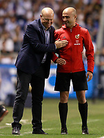 Deportivo de la Coruna's coach Pepe Mel jokes with the fourth referee Alfonso Vicente Moral during La Liga match. August 20,2017.  *** Local Caption *** © pixathlon