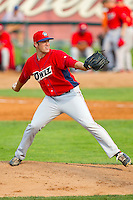 Orem Owlz relief pitcher Austin Adams (19) in action against the Ogden Raptors at Lindquist Field on July 29, 2012 in Ogden, Utah.  The Owlz defeated the Raptors 6-4.   (Brian Westerholt/Four Seam Images)