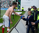 13.05.2018 Hibs v Rangers: Andy Halliday hands his shirt to a young Rangers fan