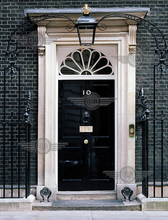 The door of Number 10 Downing Street, home of the British Prime Minister.