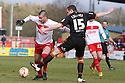 Neill Collins of Sheffield United tackles Marcus Haber of Stevenage. Stevenage v Sheffield United - npower League 1 -  Lamex Stadium, Stevenage - 16th March, 2013. © Kevin Coleman 2013.. . . .