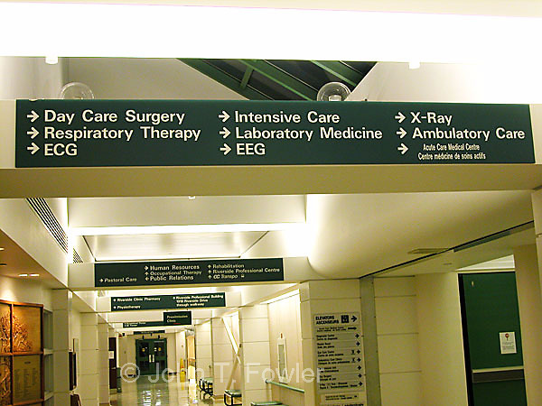 Hospital direction signs