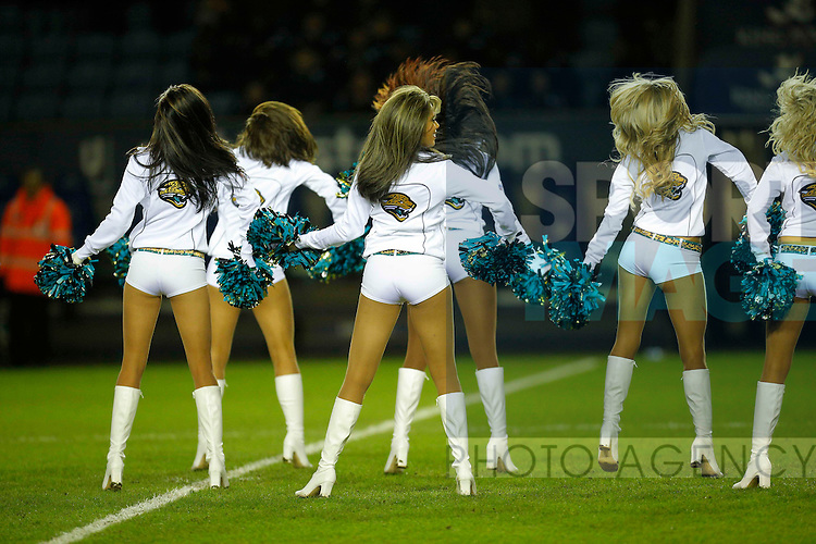 Cheerleaders from the Jacksonville Jaguars entertaining the crowd before kick-off- Football - Leicester City vs Wolverhampton Wanderers  - NPower Championship -King Power Stadium  - Leicester - Season 12/13 - 31/01/2013.Mandatory credit: Malcolm Couzens/Sportimage