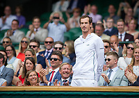Andy Murray introduced to the Centre Court crowd from the Royal Box<br /> <br /> Photographer Ashley Western/CameraSport<br /> <br /> Wimbledon Lawn Tennis Championships - Day 6 - Saturday 8th July 2017 -  All England Lawn Tennis and Croquet Club - Wimbledon - London - England<br /> <br /> World Copyright &not;&copy; 2017 CameraSport. All rights reserved. 43 Linden Ave. Countesthorpe. Leicester. England. LE8 5PG - Tel: +44 (0) 116 277 4147 - admin@camerasport.com - www.camerasport.com