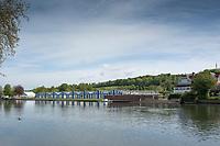 Henley on Thames. United Kingdom.   2018 Henley Royal Regatta, Henley Reach. <br />   <br /> Boat Tent under construction. Course Construction<br /> <br /> Thursday  03/05/2018<br /> <br /> [Mandatory Credit: Peter SPURRIER:Intersport Images]<br /> <br /> LEICA CAMERA AG  LEICA Q (Typ 116)  f5.6  1/1250sec  35mm  42.6MB