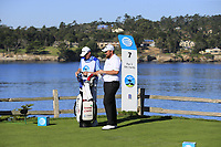 Shane Lowry (IRL) and caddy Dermot Byrne on the 7th tee at Pebble Beach course during Friday's Round 2 of the 2018 AT&amp;T Pebble Beach Pro-Am, held over 3 courses Pebble Beach, Spyglass Hill and Monterey, California, USA. 9th February 2018.<br /> Picture: Eoin Clarke | Golffile<br /> <br /> <br /> All photos usage must carry mandatory copyright credit (&copy; Golffile | Eoin Clarke)