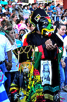 Jiutepec, Morelos. 17 de enero de 2016.- Previo a la temporada de carnavales en el estado, se realizó en este municipio el tradicional encuentro de comparsas de chinelos provenientes de los municipios donde se realizarán los carnavales en las próximas semanas. <br /> <br /> Foto: Noé Knapp