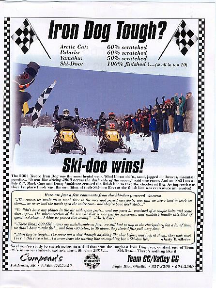 Ad for Ski-doo snowmobiles racing in Iron Dog race