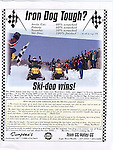 Ad for Ski-doo snowmobiles racing in Iron Dog race