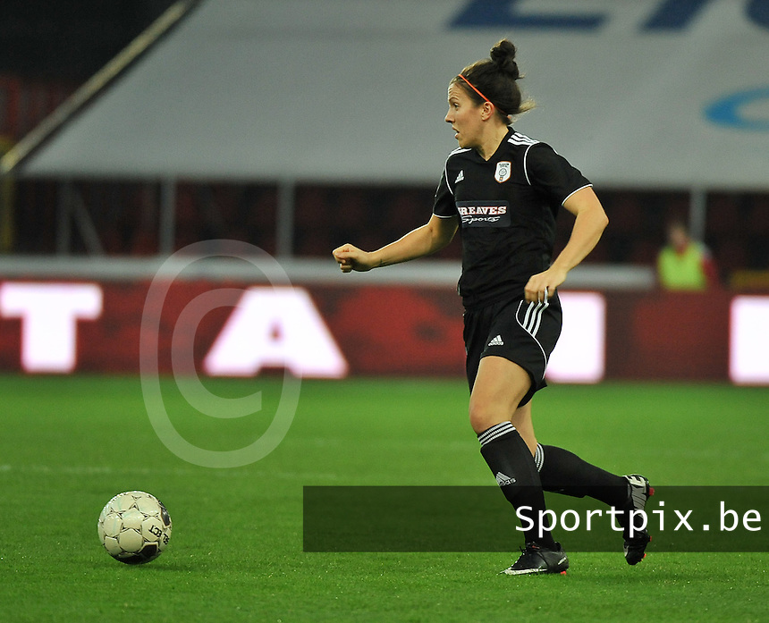 20131009 - LIEGE , BELGIUM : Glasgow Leanne Crichton pictured during the female soccer match between STANDARD Femina de Liege and  GLASGOW City LFC , in the 1/16 final ( round of 32 ) first leg in the UEFA Women's Champions League 2013 in stade maurice dufrasne - Sclessin in Liege. Wednesday 9 October 2013. PHOTO DAVID CATRY