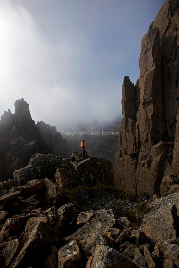 .Crumbling dolerite columns define most of the Overland's shadowing peaks. top target for mot walkers is 1617 m Mt Ossa, Tasmania's highest point which is accessible in fair weather via a steep side-track...Montée sur le Mont Ossa (1617 m) point culminant de la Tasmanie