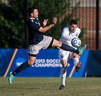 Brandon Allen (10) of Georgetown tries to block the clearance of Ryan Thelen (5) of Michigan State during the third round of the NCAA tournament at Shaw Field in Washington, DC. Michigan State defeated Georgetown, 1-0.
