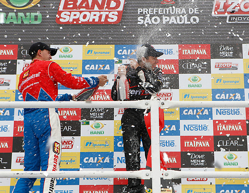 30 April - 1 May, 2011, Sao Paulo, Sao Paulo Brazil<br /> Will Power gets a beer shower courtesy of Graham Rahal.<br /> © 2011 Phillip Abbott<br /> LAT Photo USA