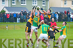 Stacks proved dominant in all areas in their clash with South Kerry on Saturday night last pictured here rising for the ball with South Kerry's Bryan Sheehan were Paul O'Donoghue and Shane Carroll.