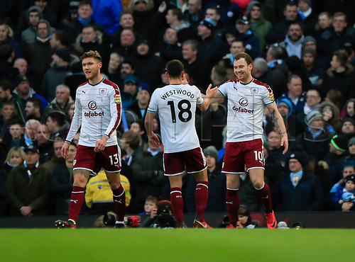 6th January 2018, Etihad Stadium, Manchester,  England;  FA Cup football, 3rd round, Manchester City versus Burnley; Ashley Barnes of Burnley celebrates scoring the opening goal in the 25th minute