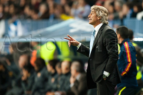 22.01.2012 Malaga, Spain. The La Liga football match between FC Malaga and FC Barcelona played in the La Rosaleda Stadium. Image shows, Manuel Pellegrini from Chile (Malaga CF)..