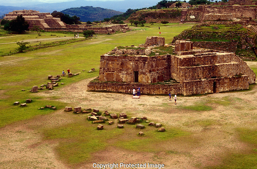 Great Plaza at the Zapotec ruins of Monte Alban, Oaxaca, Mexico