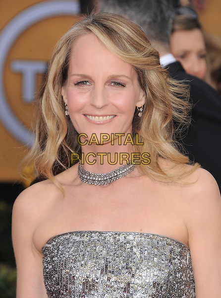 Helen Hunt.Arrivals at the 19th Annual Screen Actors Guild Awards at the Shrine Auditorium in Los Angeles, California, USA..27th January 2013.SAG SAGs headshot portrait silver strapless sequins sequined necklace .CAP/DVS.©DVS/Capital Pictures.