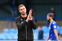 Lincoln City's first team coach/under 23 manager Jamie McCombe applauds the fans at the final whistle<br /> <br /> Photographer Andrew Vaughan/CameraSport<br /> <br /> The EFL Sky Bet League One - Macclesfield Town v Lincoln City - Saturday 15th September 2018 - Moss Rose - Macclesfield<br /> <br /> World Copyright &copy; 2018 CameraSport. All rights reserved. 43 Linden Ave. Countesthorpe. Leicester. England. LE8 5PG - Tel: +44 (0) 116 277 4147 - admin@camerasport.com - www.camerasport.com