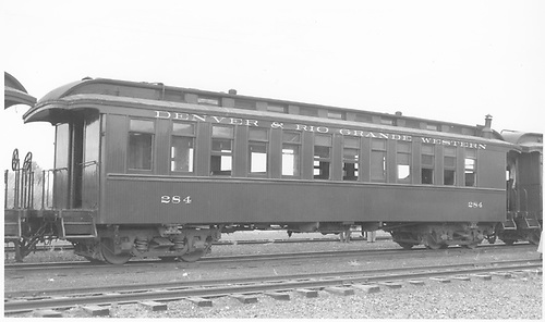 Coach #284 built by Jackson &amp; Sharp in 1881 as coach #60.  Renumbered in April 1886.<br /> D&amp;RGW  Gunnison, CO  Taken by Richardson, Robert W. - 9/18/1948