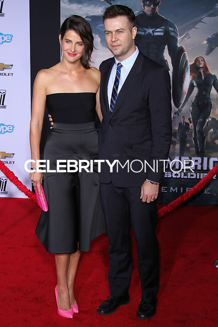 "HOLLYWOOD, LOS ANGELES, CA, USA - MARCH 13: Cobie Smulders, Taran Killam at the World Premiere Of Marvel's ""Captain America: The Winter Soldier"" held at the El Capitan Theatre on March 13, 2014 in Hollywood, Los Angeles, California, United States. (Photo by Xavier Collin/Celebrity Monitor)"