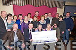 DRAM GROUP: The Church Dram Group who presented a cheque of €1,000 to the Austism Branch on Friday night in The Tankard Bar & Restaurant, Fenit. Front l-r: John Scroope (snr), Jimk Adams (Austism), Brenda Kearney, Maura McCarthy and John Moriarty. Back l-r: John Scroope (jnr), Maeve O'Donnell, Annette McAuliffe, Liz Barry, Liz Browne, Sheila Marie Fitzgerald, Marie O'Brien, Mike O'Sullivan, Veronica Kelly, John O'Brien, Donal Barry, Jim O'Sullivan, Teresa Dinner and Padraig Walsh.....