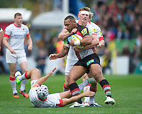 Jordan Turner-Hall of Harlequins is tackled by Owen Farrell of Saracens during the Aviva Premiership match between Harlequins and Saracens at the Twickenham Stoop on Sunday 30th September 2012 (Photo by Rob Munro)