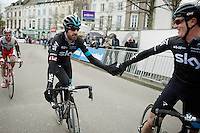 Sir Bradley Wiggins (GBR/Sky) comes in minutes after the winner where he learns from teammate Salvatore Puccio (ITA/Sky) that Ian Stannard actually won the race (against all odds)<br /> <br /> Omloop Het Nieuwsblad 2015