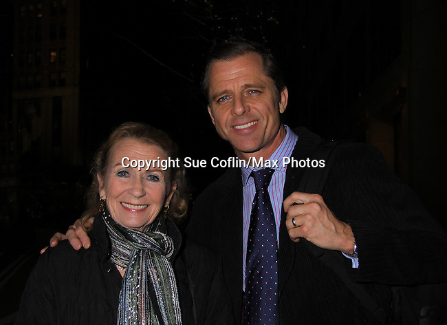 """Passions Juliet Mills and husband AMC's Maxwell Caulfield arrives at """"Arcadia"""" - Broadway Opening Night on March 17, 2011 at the Ethel Barrymore Theatre, New York City, New York.  Arrivals, Curtain Call and Party after at Gotham Hall. (Photo by Sue Coflin/Max Photos)"""