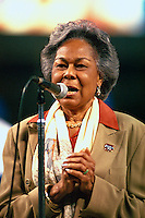 Rachel Robinson, wife of Jackie Robinson, before a game at Dodger Stadium in Los Angeles, California during the 1997 season.(Larry Goren/Four Seam Images)