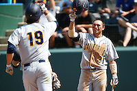 Brenden Farney #21 of the California Golden Bears welcomes his teammate Nick Halamandaris #19 after Halamandaris's home run  against the UCLA Bruins at Jackie Robinson Stadium on March 23, 2013 in Los Angeles, California. (Larry Goren/Four Seam Images)