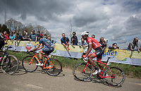 Early break away group: Tsgabu Grmay (ETH/Trek Segafredo) up the Gulpener berg. <br /> <br /> 53th Amstel Gold Race (1.UWT)<br /> 1 Day Race: Maastricht &gt; Berg en Terblijt (263km)