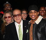 "Clive Davis and Jeremy Pope backstage after a performance of ""Ain't Too Proud"" at the Imperial Theatre on April 11, 2019 in New York City."