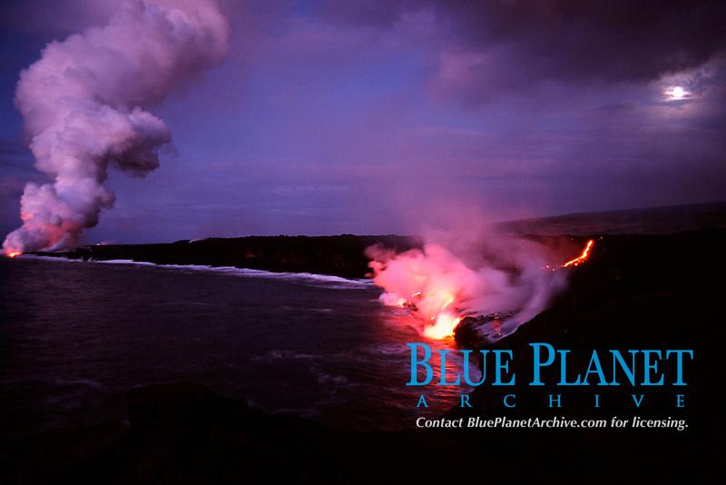 full moon setting over lava entry into the Pacific Ocean, Hawaii Volcanoes National Park, Big Island, Hawaii, USA , Pacific Ocean