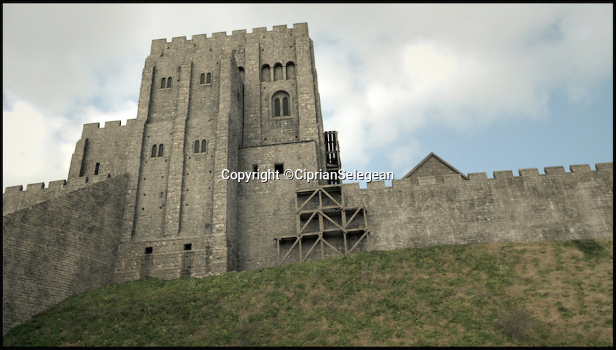 BNPS.co.uk (01202 558833)<br /> Pic: CiprianSelegean/BNPS<br /> <br /> The keep at Corfe Castle reconstructed.<br /> <br /> A computer animation student is taking tourists back to medieval times with his painstaking transformation of the ruins of an ancient castle.<br /> <br /> Ciprian Selegean's footage is so realistic it looks like someone has filmed the towering stone fortress now, but he actually digitally reconstructed what Corfe Castle in Dorset looked like in its prime.<br /> <br /> The 22-year-old University of Portsmouth student spent several months researching the history of the important monument and then brought the castle to life using several software programmes to create a realistic, moving 3D representation.<br /> <br /> The clever historical reconstruction makes it look as if the impressive stronghold was never destroyed in 1646 and even has a guardsman standing watch at the castle gate. <br /> <br /> The digital image then falls away to reveal what people can actually see at the site today.