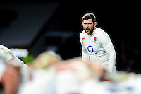Elliot Daly of England watches a scrum. RBS Six Nations match between England and Ireland on February 27, 2016 at Twickenham Stadium in London, England. Photo by: Patrick Khachfe / Onside Images