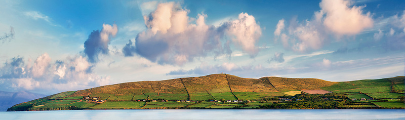 Hillside next to Dingle Bay at sunset. County Kerry, Ireland