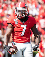 ATHENS, GA - SEPTEMBER 7: D'Andre Swift #7 after a touchdown run during a game between Murray State Racers and University of Georgia Bulldogs at Sanford Stadium on September 7, 2019 in Athens, Georgia.