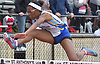Gillian Blackwood of Kellenberg clears the final obstacle on her way to victory in the girls 100 meter high hurdles during the Nassau-Suffolk CHSAA track and field league championships at St. Anthony's High School on Saturday, May 20, 2017. She posted a time of 15.30 in the event.