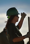 Market Street Bridge construction, Williamsport, PA. Female worker in hard hat.