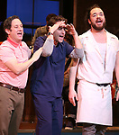 "Christopher Fitzgerald and Benny Elledge with Joey McIntyre during his debut bows in Broadway's  ""Waitress"" at The Brooks Atkinson Theatre on February 4, 2019 in New York City."
