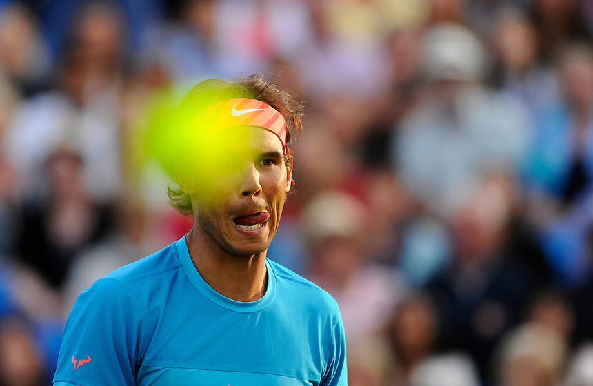 Rafael Nadal (ESP) with partner Marc Lopez (ESP) (out of shot) during their defeat by Daniel Nestor (CAN) and Leander Pais (IND) in their Men&rsquo;s Singles Second Round match - 7-6, 6-4<br /> <br /> <br /> <br /> Photographer Ashley Western/CameraSport<br /> <br /> Tennis - ATP 500 World Tour - AEGON Championships- Day 4 - Thursday 18th June 2015 - Queen's Club - London <br /> <br /> &copy; CameraSport - 43 Linden Ave. Countesthorpe. Leicester. England. LE8 5PG - Tel: +44 (0) 116 277 4147 - admin@camerasport.com - www.camerasport.com