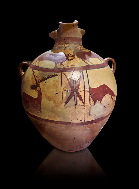 Phrygian terra cotta large jug with handles, decorated with animals, from Gordion. Phrygian Collection, 6th century BC - Museum of Anatolian Civilisations Ankara. Turkey. Against a black background