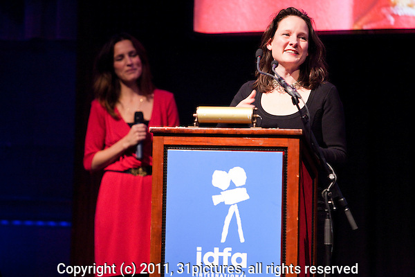 The Netherlands, Amsterdam, 25 November 2011. The Award ceremony International Documentary Film Festival Amsterdam 2011. Jessica Gorter, Winner Best Dutch Documentary for '900 Days'. Photo: 31pictures.nl / (c) 2011, www.31pictures.nl