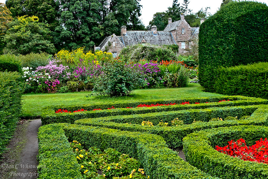 A view of the gardens at Cawdor Castle in Scotland