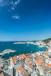 Croatia, Split, Split Harbor and Old Town Viewed from the Cathedral Tower