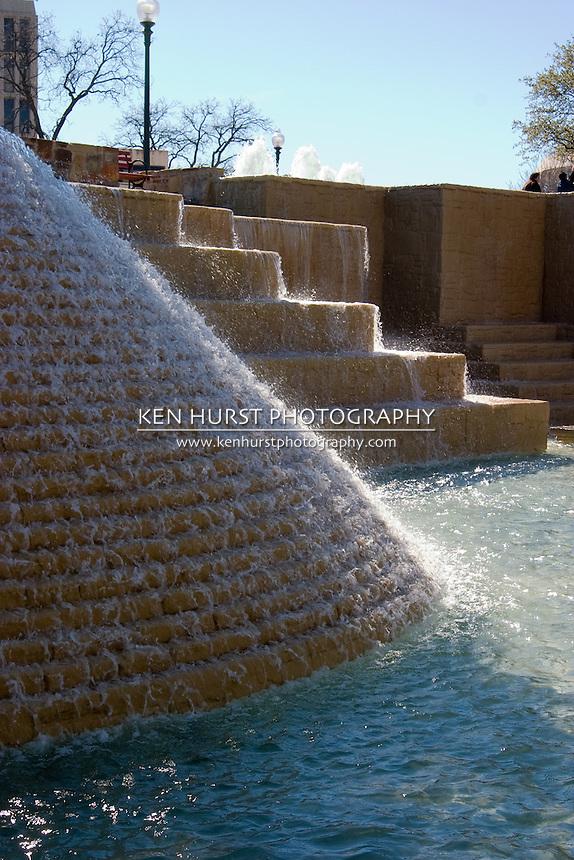 Waterfalls at Hemisfair Park in San Antonio, Texas, USA.