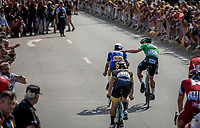 Peter Sagan (SVK/Bora-Hansgrohe) congratulating stage winner Fernando Gaviria (COL/Quick Step Floors) after finishing<br /> <br /> Stage 4: La Baule &gt; Sarzeau (192km)<br /> <br /> 105th Tour de France 2018<br /> &copy;kramon